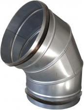 Gumitömítéses könyök, 90°-os, horganyzott acél  NA250