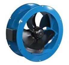 VKF 2E 200 Alacsony nyomású axiál ventilátor, fém házas kivitelben, cső közé építhető kialakítással. Na 200. 230 V kivitel.